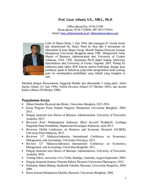 Utkal Mba Department Contact Number by Cv Prof Lizar Alfansi 2014