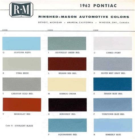 1962 pontiac paint color sle chips card oem colors ebay