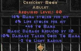 crescent moon unique amulets diablo 2 jonas d2