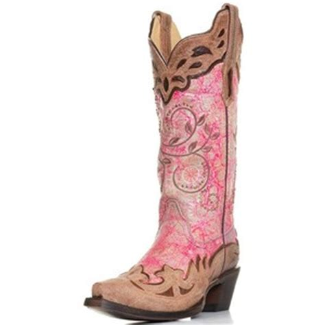 corral womens wing tip snip toe western cowboy boots pink