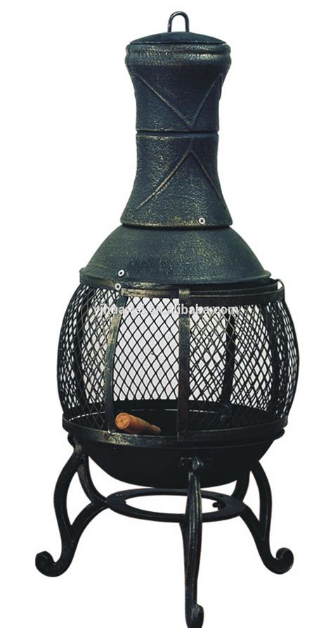 Clay Chiminea With Iron Stand Cast Iron Outdoor Chiminea Modern Patio Outdoor