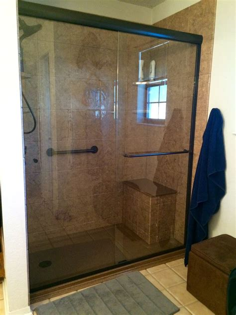 Rebath 12 Quot Tile Venetian Stone Wall System With Custom Walk In Shower Glass Doors