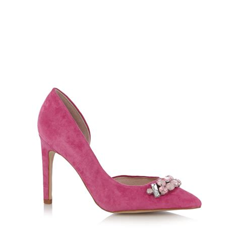faith womens bright pink leather stiletto court