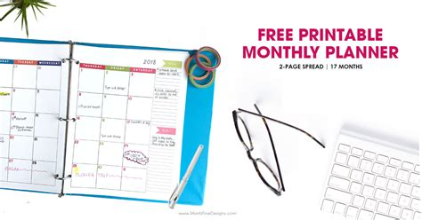 monthly planner printable calendar page spread