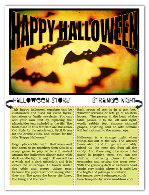 worddraw com free halloween newsletter templates