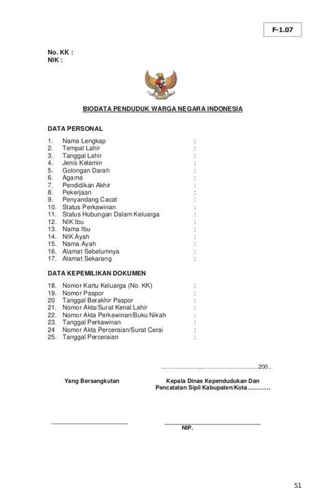 format biodata bahasa indonesia permendagri 19 th 2010