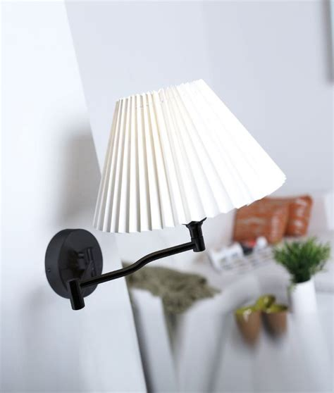 Swing Arm Wall L Shades by Swing Arm Wall Light With Pleated Shade