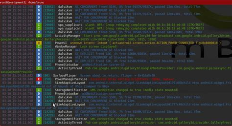 android logcat color the lines of logcat on linux android