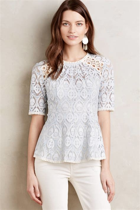 Keira Top Lace Blouse Hijaber hd in signa lace top in blue blue motif lyst