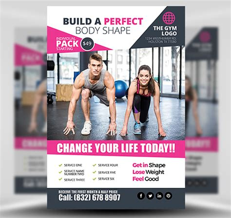 free templates for fitness flyers gym flyer template 2 flyerheroes