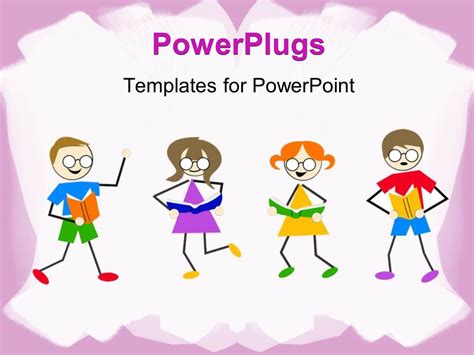 powerpoint templates free download reading powerpoint template little kids dancing and reading book