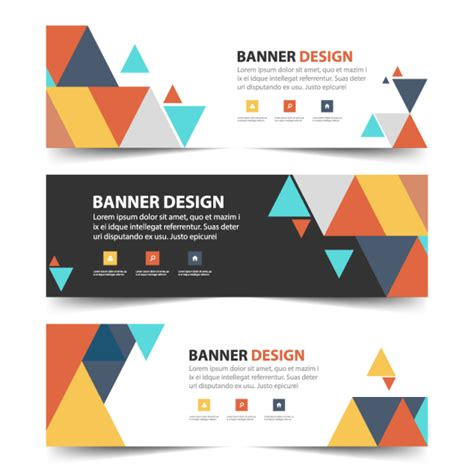 web layout header colorful abstract triangle corporate business banner