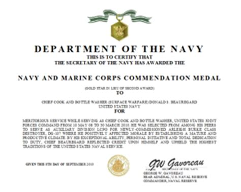usmc certificate of commendation template navy commendation medal