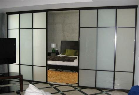 Glass Room Divider Doors 4 Panel Room Divider On A Track 1 1 2 Quot Black Frames Frosted Glass With Duo T Design