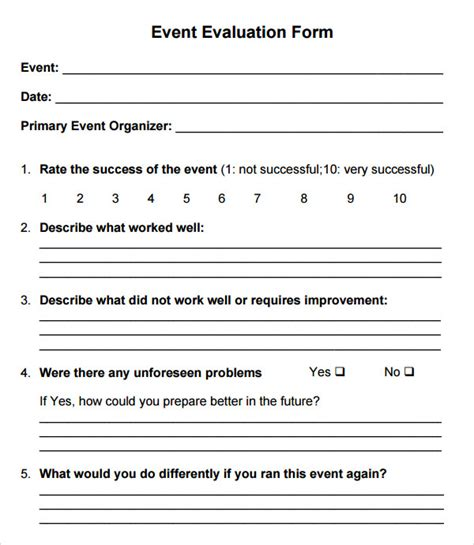 evaluation form templates r event evaluation form and feedback form exle vatansun