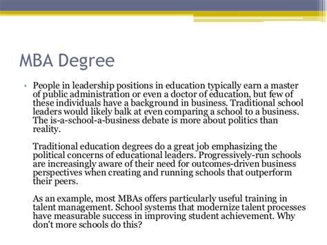 Mba To Politics by Talent Management Educational Leadership And The Mba Degree