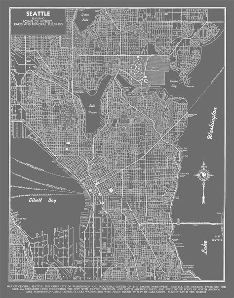 seattle map printable seattle map seattle map poster gray seattle map