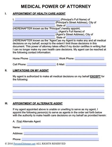 free printable durable power of attorney template free power of attorney templates in fillable pdf format