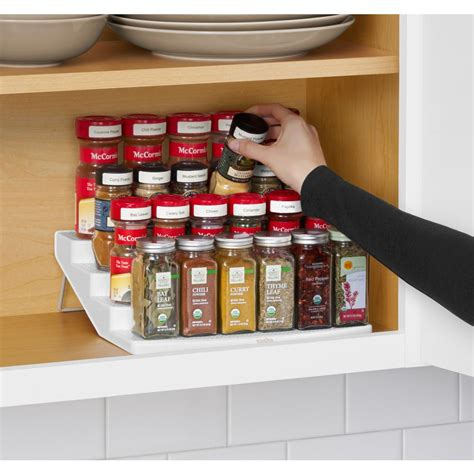 Youcopia spicesteps 4 tier cabinet spice rack organizer 01241 01 wht the home depot