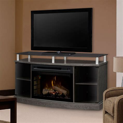 Electric Fireplace Media Console Windham Silver Charcoal Electric Fireplace Media Console Gds25hl 1015sc