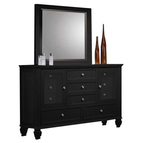 coaster dresser and mirror set in black finish