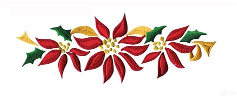 poinsettia floral border 2 embroidery design
