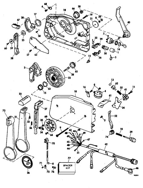 evinrude etec parts diagram evinrude remote parts for 1979 235hp 235949a