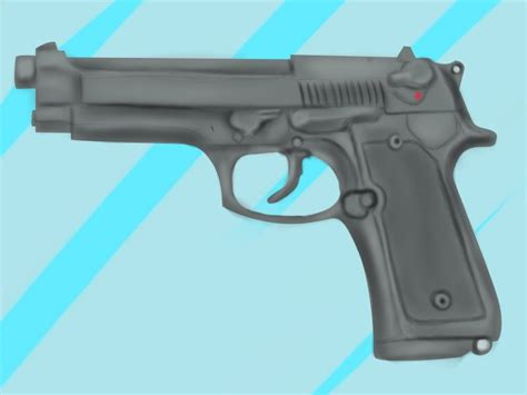 9mm Drawing by Learn How To Draw A 9mm Beretta M9 Pistol Pistols Step