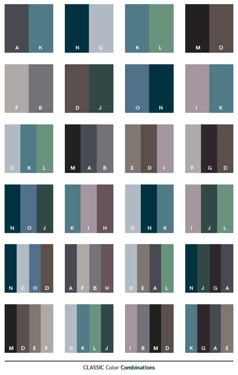 Classic Color Combinations | classic color schemes color combinations color palettes for print cmyk and web rgb html