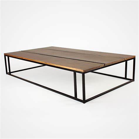 Coffee Table With Metal Base Reclaimed Wood Planks And Metal Base Coffee Table Rotsen Furniture