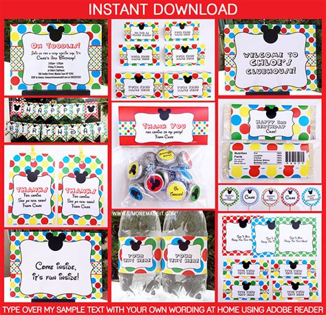 printable mickey mouse party decorations mickey mouse clubhouse printable invitation party