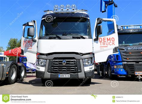 white renault  show truck editorial stock photo image