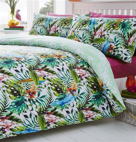 Tropical Bedding Set Luxury Tropical Duvet Quilt Cover Macaws Parrot Bedding Linen Bed Set Green New Ebay