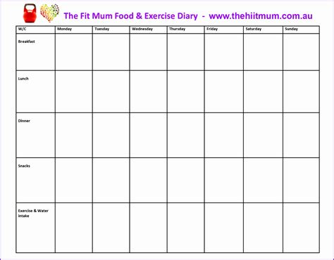 Food Diary Template Word Doc Food Diary Template Docs