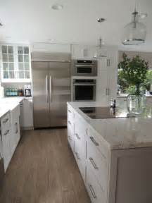 Ballard Design Tables white and gray granite transitional kitchen sherwin
