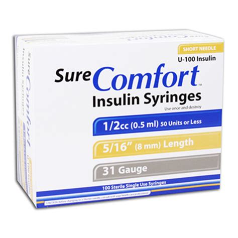 sure comfort insulin syringes sure comfort insulin syringes 31g 0 5 cc 5 16 100 ea 22 6505