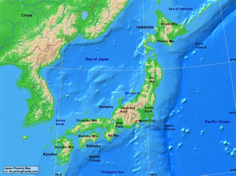 physical map of japan physical map of japan middle east map