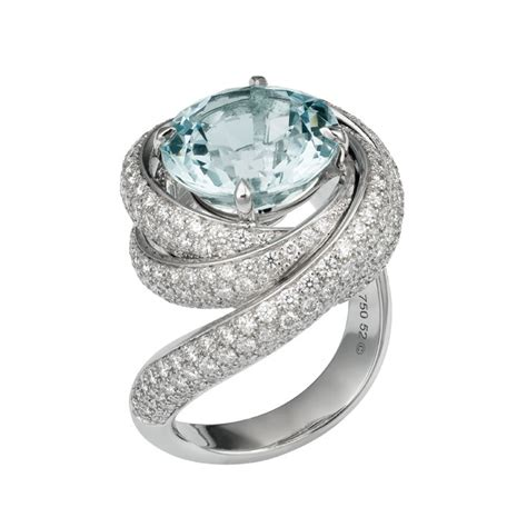 cartier de cartier white gold aquamarine and