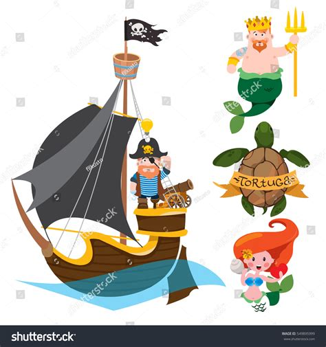 themes of cartoons for mobile set labels design items pirate theme stock vector