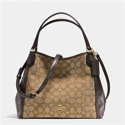 Coach Bag coach edie 28 jacquard and leather shoulder bag in brown