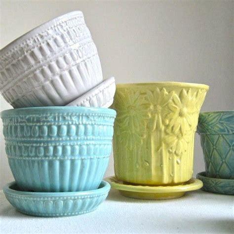 blue green mccoy pottery flower pot