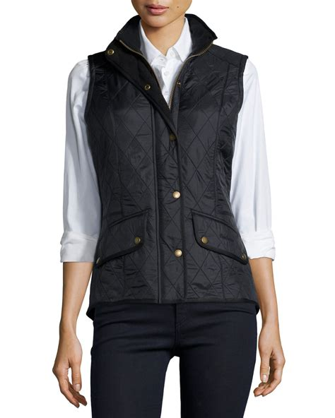 black quilted vest barbour diamond quilted sleeveless vest in black lyst