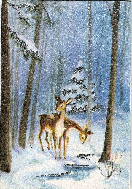 vintage greeting card  deer  snowy woods public domain graphics winter pinterest