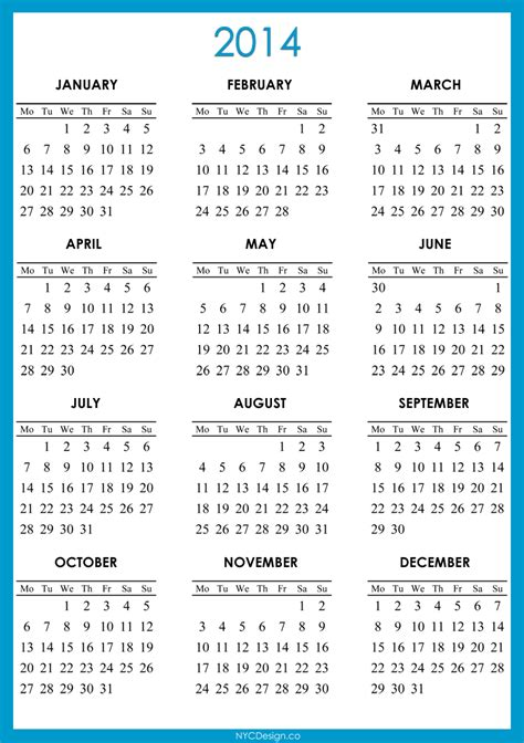 printable yearly calendar for 2014 5 best images of calendar 2014 only printable yearly