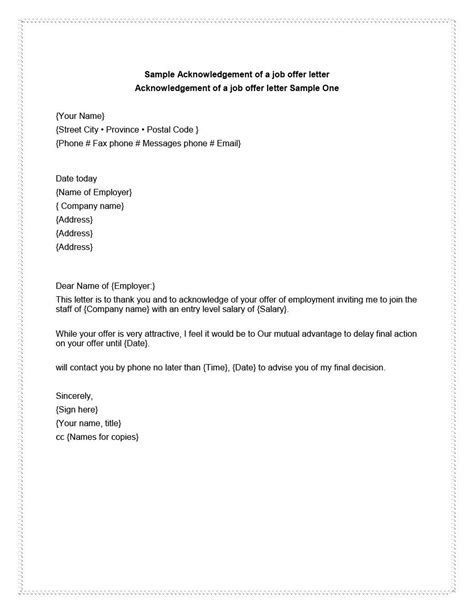 Offer Letter Getting Delayed 40 Professional Offer Acceptance Letter Email Templates Template Lab