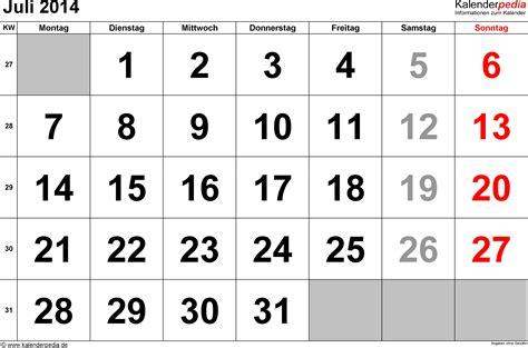 Kalender 2014 Juli Kalender Juli 2014 Als Excel Vorlagen