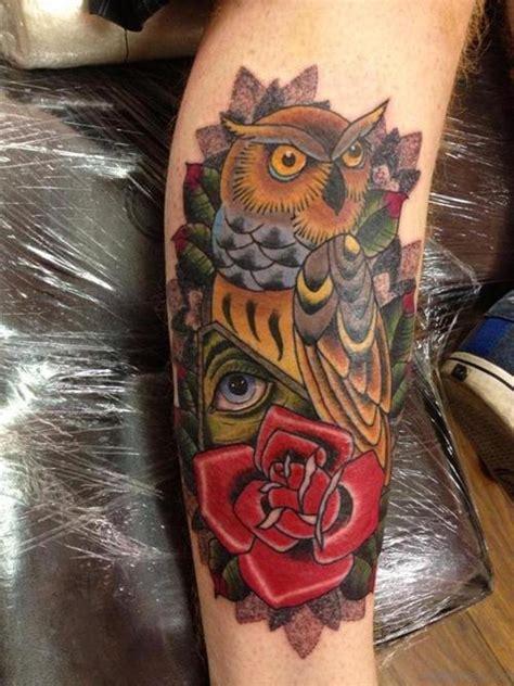 owl tattoo red 73 elegant owl tattoos on leg