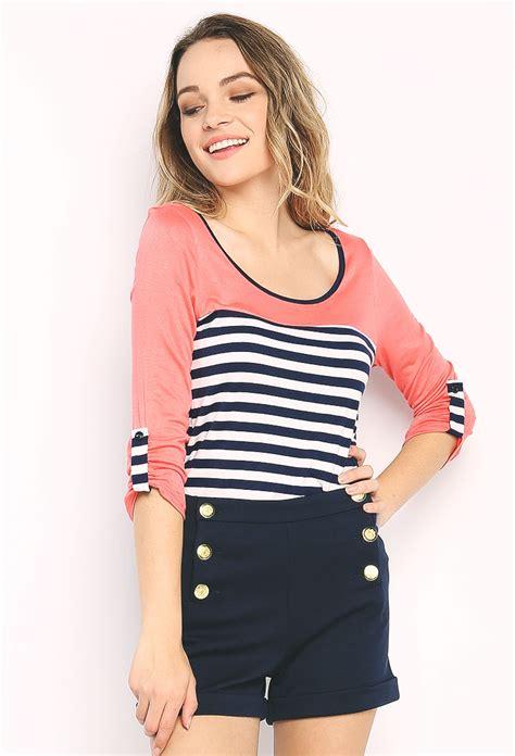 Stripe Casual Top 24540 casual striped top shop tops at papaya clothing