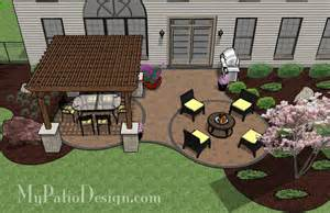 Patio Layout Design by Shaded Pergola Covered Curvy Patio Tinkerturf
