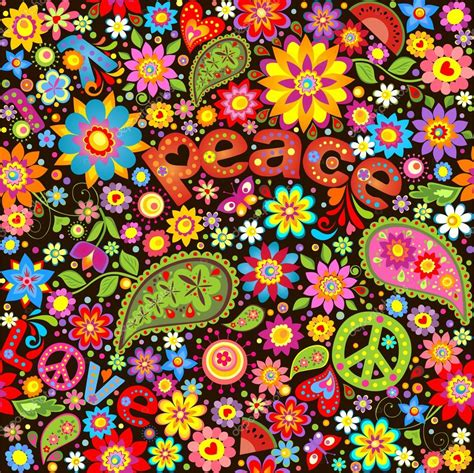 imagenes hippies vector wallpaper with hippie symbolic stock vector